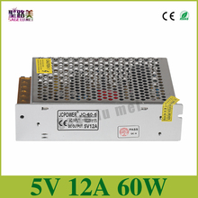 Constant Current Regulated Switching Power Supply transformers CCTV Unit 120/240VAC LED Strips Pixels CCTV PSU,output 5V 12A 60w