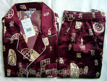 Burgundy Chinese Men's Silk Rayon 2pc Nightwear Robe sleepwear Pyjamas Sets Bath Gown L XL XXL SH001(China)