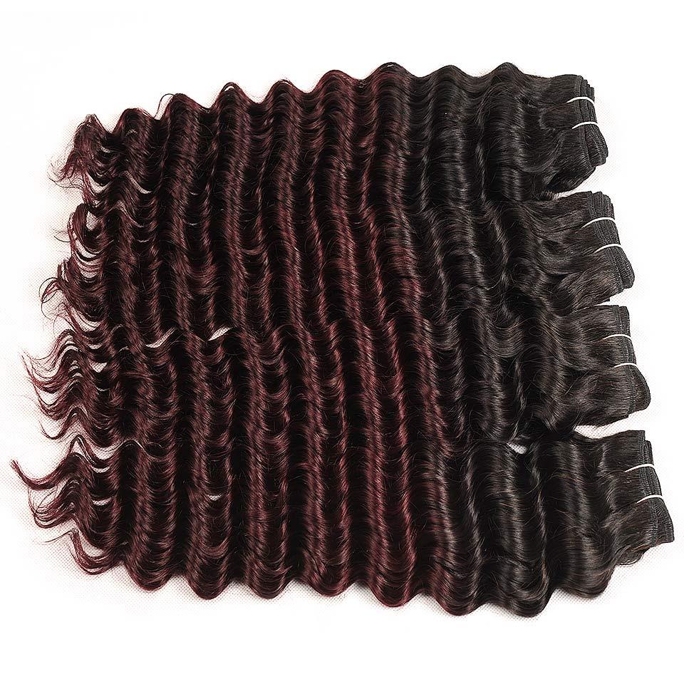 Pinshair Pre-Colored Ombre Brazilian Hair Weave 4 Bundles Deep Wave Human Hair Weaving Extensions T1B Burg Cheap Non-remy Hair