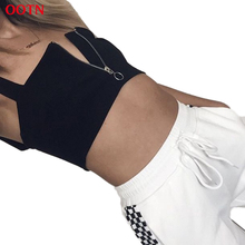 OOTN Zipper Tank Top Women Black Sexy Midriff Top Summer Sleeveless Sexy Party Summer Camis Female Crop Top Street Style Cropped(China)