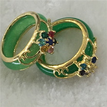 2PCS Lady's Elegent Hand Carving Green Jades Ring size :7-9