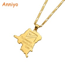 Anniyo Democratic Republic the Congo Map & Flag Pendant Gold Color DRC Kinshasa Necklace Patriotic Jewelry for Women/Men #083606(China)