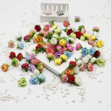 10 pcs/lot 2cm Artificial flowers silk flower small tea roses bud handmade flowers diy head garlands for wedding home decorati(China)