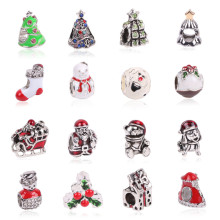 2017 Silver Color Enamel Santa Christmas Gift Box Charms European Bead Fit Pandora Bracelet DIY Jewelry Making Fashion(China)