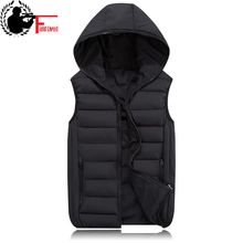 Warm Sleeveless Jacket 2017 Men Thickening Cotton Down Vest Hat Hooded Vest Winter Waistcoat for Male Casual Tank Windbreaker(China)
