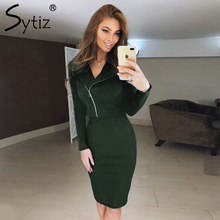 Sytiz Women Suits 2017 Autumn Winter Long Sleeve V-neck 2-Piece Set Single-Breasted Top Knee Length Bottom Casual Suits female(China)