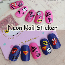 Free Shipping 24pcs Halloween Ghost Red Lip Nail Art Sticker Black Moustache Decals Crown Cross Decorations Batman Superman no.6