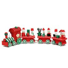 New 4 Piece Wood Christmas Xmas Train for Ornament Decoration Children Kids Mini Christmas Train Toy Gift(China)