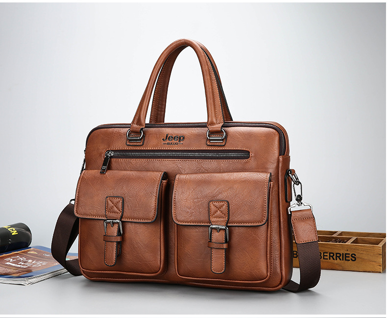 a leather briefcase in brown