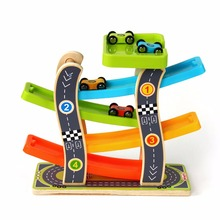 Kid Puzzle Toy Vehicles Kids Animal Car wooden puzzle Building slot track Wooden Complete Set Of Glider Car Four Ladder Car(China)