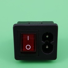 YuXi 1PC IEC320 C8 Power Cord Inlet Socket receptacle With ON-OFF Red Light Rocker Switch 250V 2.5A FOR Computer Amplifier