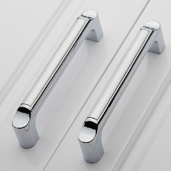 modern fashion  kitchen cabinet handles shiny silver dresser pull128mm drawer cupbord wardrobe furniture handles pulls knobs<br><br>Aliexpress