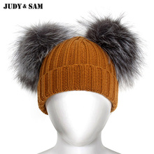 Fashion Kids Knitting Hats and Caps with Luxurious 2 Silver Fox Fur Pom Poms Skullies Beanies Winter Head Wear for Boys