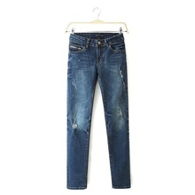 2015 Brand ZA spring new fashion women's Blue casual pants zipper Ripped Scratched Decoration Denim jeans Pencil trousers