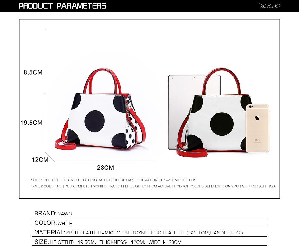 NAWO Famous Brands Women Leather Handbags Designer Women Bag Dot High Quality Shoulder Messenger Bags Luxury Hand Bags Female 3
