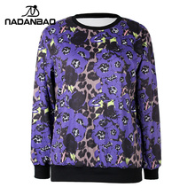 NADANBAO Fashion Autumn Women Hoodies Women Lepard Printed Pullovers Long Sleeve Sweatshirts Loose Women Sweatshirts