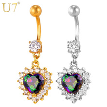 U7 Crystal Heart Belly Button Ring Gold/Silver Color Cubic Zirconia Navel Rings For Women Gift Body Jewelry Summer Party D010(China)