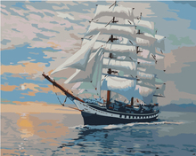 Frameless wall art pictures painting by numbers hand painted canvas abstract oil painting 40*50cm sail boat(China)