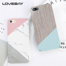 Lovebay Marble For iPhone 5 5s SE Phone Case Fashion Geometric Stitching Stone Wood Grain Hard PC Full Cover Case For iPhone 5s(China)