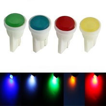 10pcs T10 W5W WY5W Ceramic COB LED Lamp Car Interior Wedge Light Source Instrument Side Bulb White/Blue/Green/Red/Yellow 12V 10X