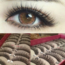 10 Pairs Makeup Long Thick Cross Beauty False Eyelashes Eye Lashes Extension New