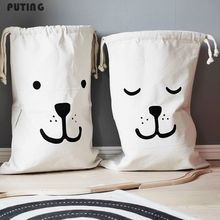 Zakka Large Cartoon Storage Bags Children Baby Play Mat Toys Clothes Organizer Kids Laundry Bag Canvas Simple Home Decor(China)
