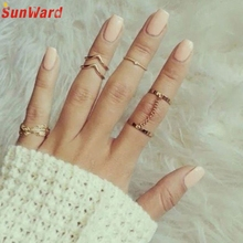 6pcs / Set Gold Rings Set Crystal Above Knuckle stacking Band Midi Mid Ring for Women Lady Delicate
