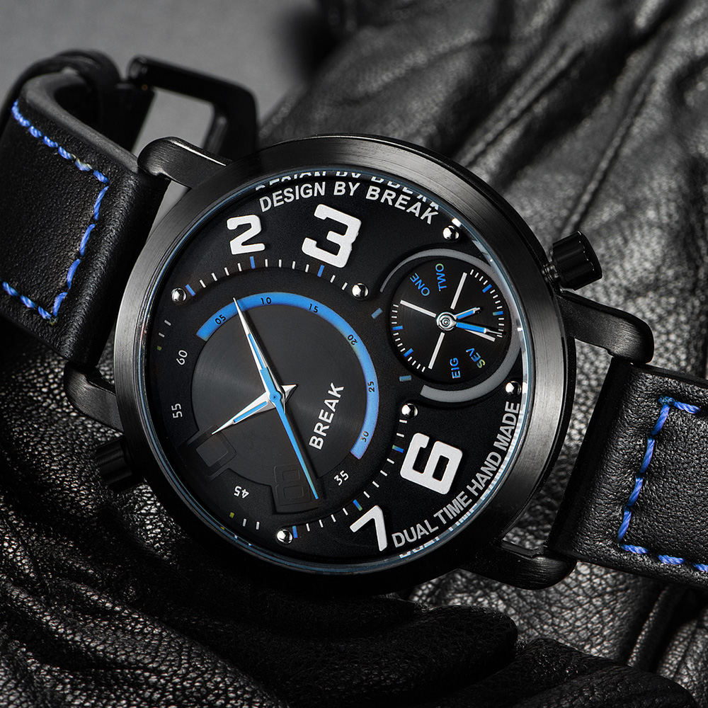BREAK Luxury Dual Dial Men Watch Fashion Casual Military Sport Clock Leather Strap Wristwatches Mens Male Quartz Watches as Gift<br>