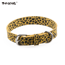 T-MENG Brand New Genuine Leather Dog Collar Leopard Printing Pattern Pet Dog Collars Fashion Necklace Good For Pet Products(China)