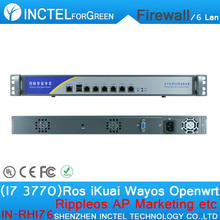 Customized Internet router manufacturers ROS 6 Gigabit flow control firewall appliance with I7 3770 processor H61 Express chip