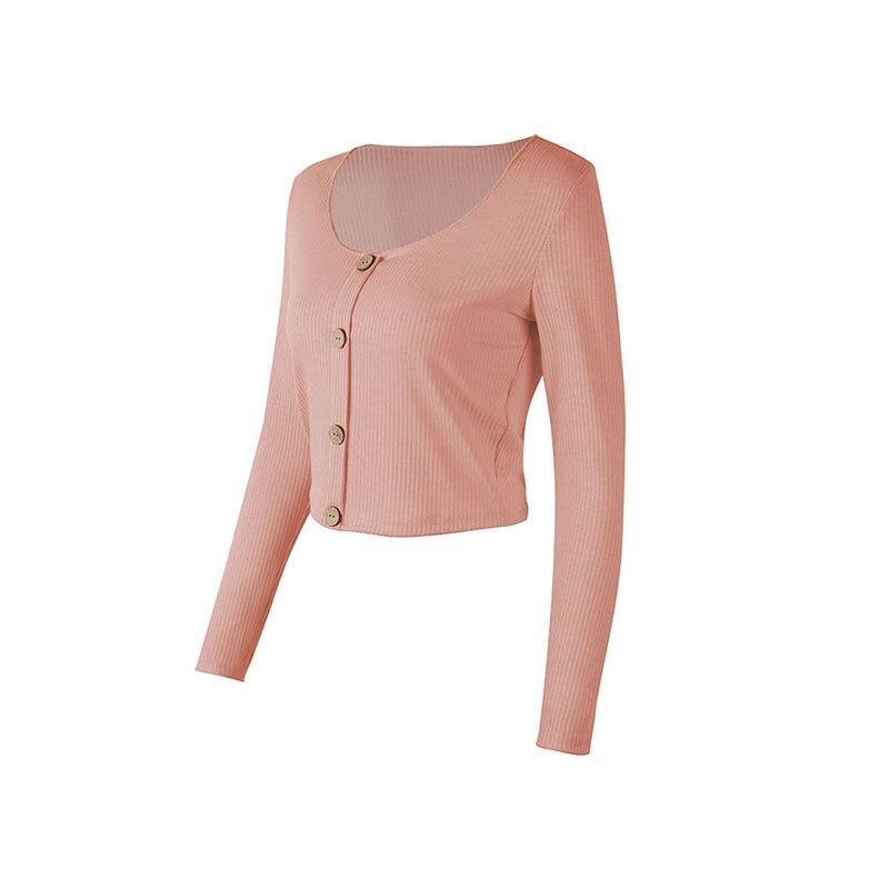 Crop Top Women Long Sleeve Button O-neck Spring Summer T Shirt Women Sexy Camiseta Mujer Women Tshirt Tee Shirt Femme 2019 Tops223