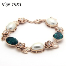 T.N 1983 gold filled Faux pearl bracelets bangles for women green crystal flower hand chain