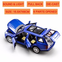 DIE CAST VEHICLE MODEL 1:32 SCALE PULL BACK, SOUND & LIGHT CAR TOYS- 6 DOORS OPENED