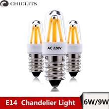 E14 Led Dimmable Candle Light Lamp AC 220V 2W 4W Ampoule Led Filament Lamp Lustres Warm cold White Led Spotlight Chandelier new