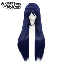 Rockstar Wigs 80cm Long Straight Navy Blue Girl's Synthetic Cosplay Wigs Peruca