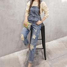 B6530 denim bib pants female trousers 2016 hole jeans beggar pants female loose overalls jeans