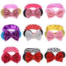 Big Sequin Glitter Bow Elastic Headband Minnie Mouse Ears Hair Accessories For  Headwear