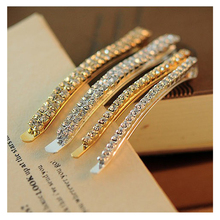 Simple Double/Single Row Crystal Hair Clips Vintage Hair Accessories Bangs Hairpins Hair Jewelry for Women Gold Silver 0776(China)