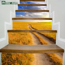 Maruoxuan 6pcs / set Autumn Grassland Scenery Staircase Stickers Corridor Stairs Stairs Decorated Floor Paste PVC Wall Stickers
