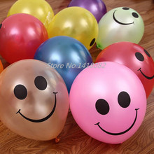 Free Shipping Hot Cheap 100pcs/lot Colorful Pearl Latex Smile Face Balloons Festival Party Decoration Round Ballons Wholesale