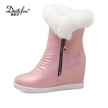 Daitifen Rabbit Fur Ankle Boots 2017 Hidden Wedges Snow Boots High Heels Platform Boots Autumn Winter Zipper Boots Shoes Woman(China)