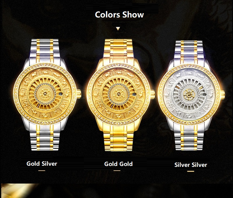 02018 New TEVISE Zodiac Signs Men Watch Automatic Mechanical Wristwatches Limited Edition Watch Men Gold Male Clock saat erkekler (3)