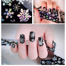 1pcs 120cm*4cm Christmas Snowflake Holographic Nail Foils Nail Art Transfer Sticker Paper Decorations(China)