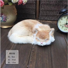 Lovely artificial real fur sleep baby cats,kat sweet pussy cat fan,home party DIY decoration children friends birthday doll gift