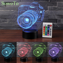 Novelty Acrylic Entertainment 3D Camera Illusion LED USB Table Light RGB Night Light Romantic Bedside Gift Decoration Lava Lamp(China)