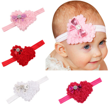 2016 New 10pcs/lot Fashion Girls Hairband Crystal Heart Headband kids turban Headwear Hair Band Accessories