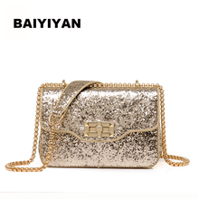 2017 Summer new bright side of the small square package chain lock handbags leisure shoulder Messenger bag