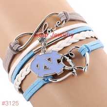 Infinity Love North Carolina Tar Heels College Football Bracelet 2016 New Leather Bracelet Fans Jewelry 6Pcs/Lot !Free Shipping!