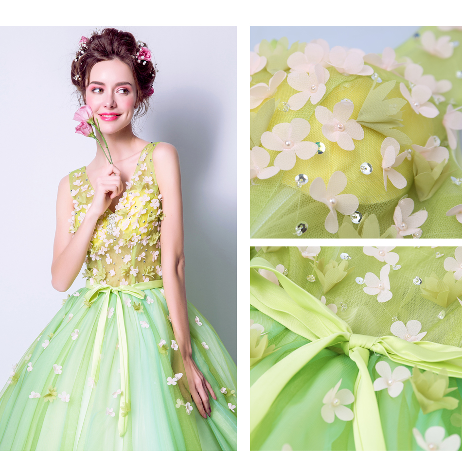 Angel Wedding Dress Marriage Bride Bridal Gown Vestido De Noiva 2017Soft powder, Qingjian Lvxian beauty, petals, green 9718 11