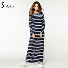 Buy Siskakia women casual loose striped straight Dress Autumn 2017 long sleeve round neck Maxi long Dress Female T shirt basic Dress for $16.14 in AliExpress store